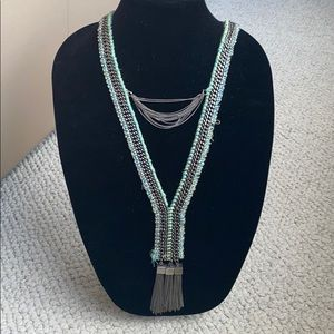 Long Yarn and mixed metal Statement necklace
